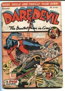 DAREDEVIL #6-1941-Insane WEIRD MENACE wolf attack HEADLIGHT cvr