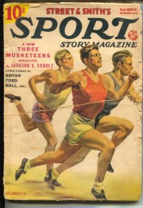 Sport Story #1 9/1938-track meet cover-Walter Johnson Part 3-pulp fiction-VG