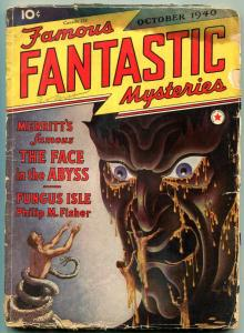 Famous Fantastic Mysteries Pulp October 1940- Face in the Abyss- Wild cover G-