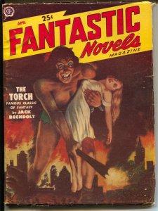 Fantastic Novels 4/1951-Popular-Headlight / horror-pulp thrills cover-VG
