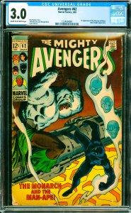 Avengers #62 CGC Graded 3.0 1st appearance of the Man-Ape (M'Baku). Black Kni...
