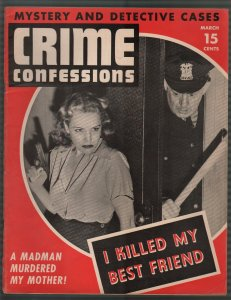Crime Confessions 3/1943-Lone Wolf's Last Shot -WWII era-lurid-violent pulp-VF