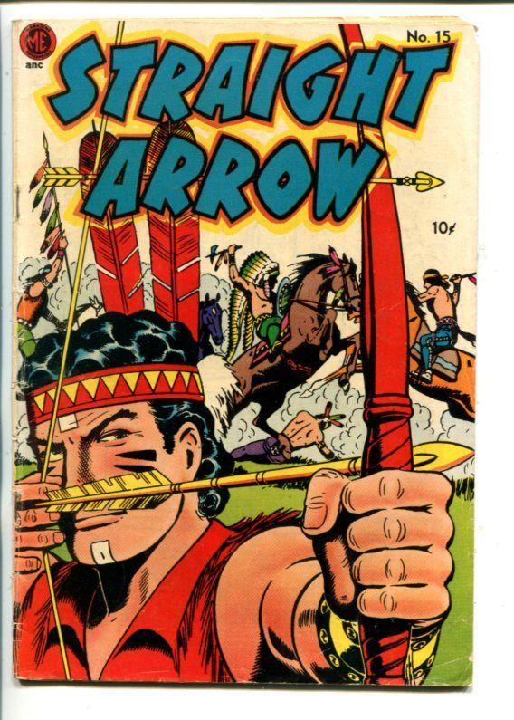 STRAIGHT ARROW  #15-1951-ME-INDIAN FIGHT COVER-FRED MEAGHER ART-vg