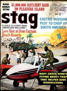 Stag 9/1965-Atlas-Mort Kunstler-pulp exploitation-cheesecake-Guadalcanal-G+
