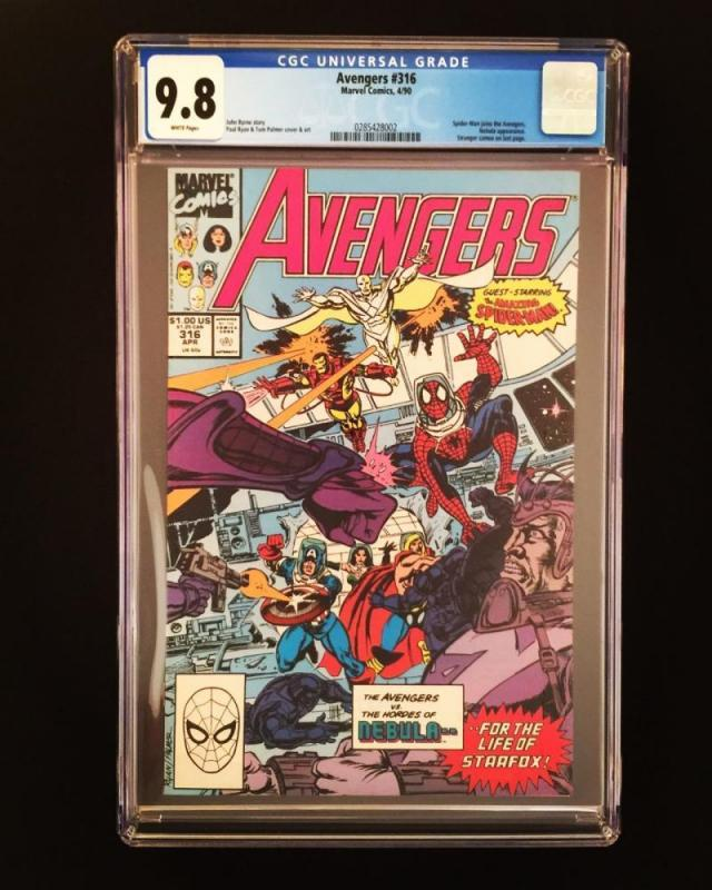 AVENGERS #316, CGC = 9.8, NM/M, Spider-man joins, Nebula,Byrne,more CGC in store