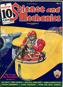 SCIENCE AND MECHANICS 03/1936-SPACE INVADER-DUNNIGER MAGIC-COMIC STYLE ART-fn