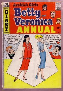 ARCHIE'S GIRLS BETTY AND VERONICA ANNUAL #7 1959 GIANT VG