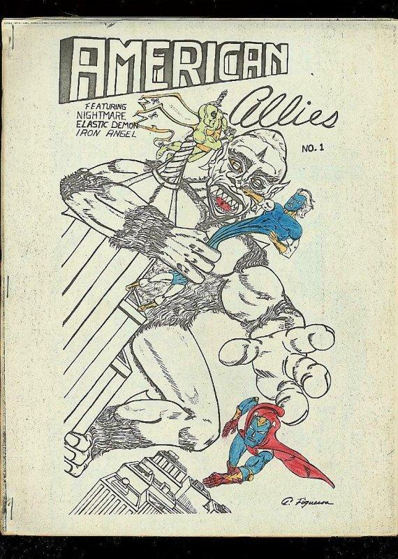 AMERICAN ALLIES FANZINE #1-SUPER HERO COMIC STRIPS-RARE FN
