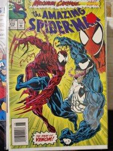 Amazing Spider-Man # 378 1993 marvel MAXIMUM CARNAGE pt 3 venom eddie brock