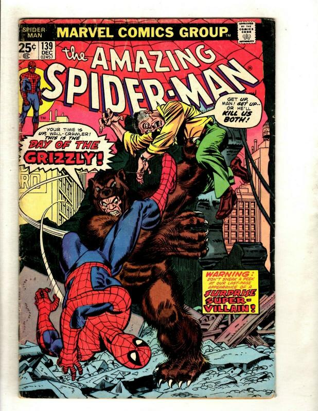 Amazing Spider-Man # 139 FN- Marvel Comic Book Grizzly Super-Villain Goblin HY1