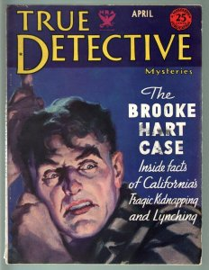 TRUE DETECTIVE MYSTERIES APR 1934-PRETTY BOY FLOYD-BROOKE HART CASE-CRIME MAG FN