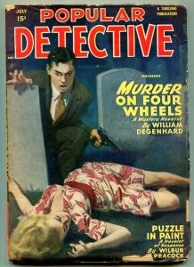 Popular Detective July 1949- Murder on Four Wheels- Puzzle in Paint