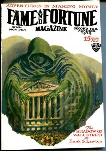 Fame and Fortune 2/1929-High Adventure-pulp reprint-Shadow of Wall Street-NM