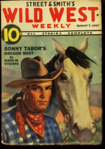 WILD WEST WEEKLY AUG 7 1937 SONNY TABOR WHISTLIN' KID VG