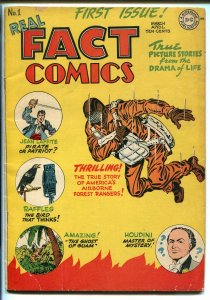 REAL FACT #1 1946-DC-1ST ISSUE-SIMON & KIRBY-HOUDINI-PARACHUTE COVER-vg