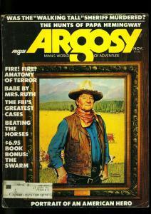 Argosy Pulp Magazine November 1974- John Wayne- Rockwell- Hemingway VG