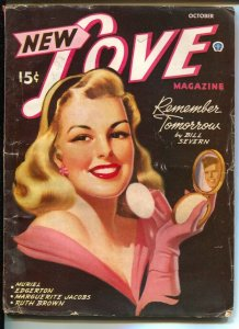 New Love 10/1945-pin-up girl cover-black background-Ruth Brown-Muriel Edgerto...