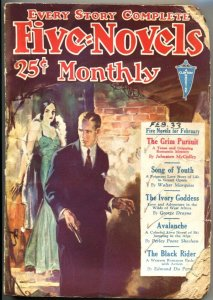 FIVE NOVELS MONTHLY-FEB 1933-CLAYTON PUBS-ADVENTURE-PULP-BLACK RIDER