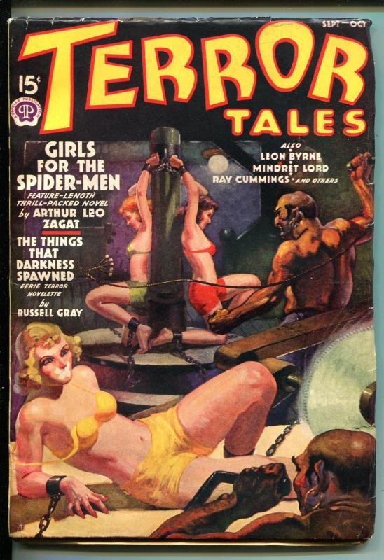 TERROR TALES 09/1938-GAGGED WOMAN-BIZARRE ART-BRUTAL-CHAINED-vf minus