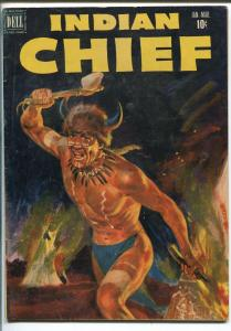 INDIAN CHIEF  #5-1952-DELL-PAINTED COVER-FREDERICK REMINGTON BACK COVER-vg/fn