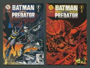 Batman vs Predator #1  #2 (SET) / 9.4 NM - 9.6 NM+ Newsstand  December 1991