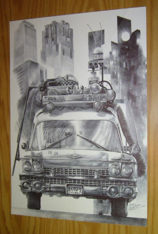 Ghostbusters Ecto-1 original art - unpublished art commissioned by 88MPH (B)