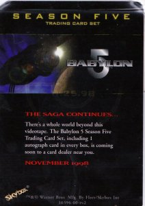 Autographed Babylon 5 Season Five Promotional Card Late S. Furst