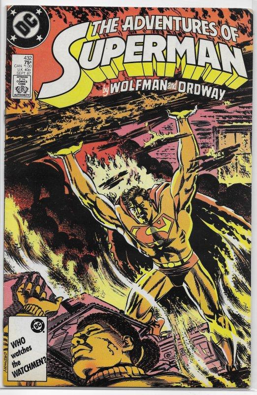Adventures of Superman   vol. 1   #432 VG (Gangwar 1) Wolfman/Ordway