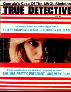 True Detective 7/1966-pulp thrills-gun moll-AWOL Skeleton-VG