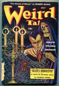 Weird Tales Pulp July 1944- Death's Bookkeeper- Jules de Grandin- Skull cover