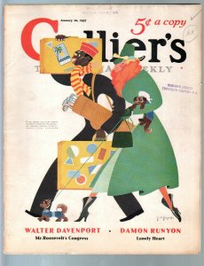 Colliers 1/16/1937-golf clubs-African-American interest cover by de Zayas-Baldwi
