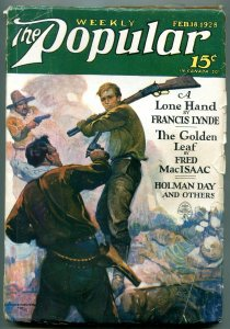 Popular Pulp Magazine February 18 1928- Lone Hand- Golden Leaf VG+