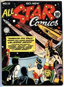ALL STAR COMICS #13 Simon and Kirby art. HITLER sci-fi story Wonder Woman. 1943