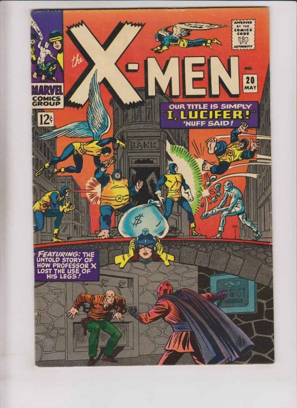 X-Men #20 FN may 1966 - story of how professor x lost the use of his legs - blob