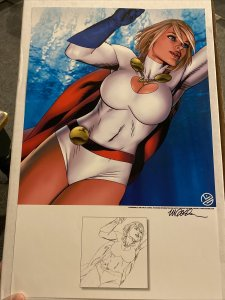 """POWERGIRL 11""""x17"""" PRINT BY MICHAEL GOLDEN SIGNED COLOR AND B&W VERSIONS ON 1"""