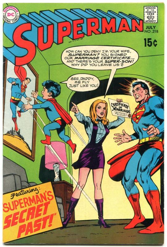 SUPERMAN #218 1969- DC Silver Age- Marriage certificate secret past cover VF-