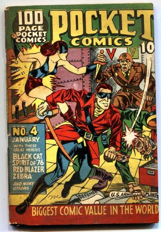 Pocket Comics #4-Hitler WWII cover-Black Cat-Gerber 7-Golden-Age