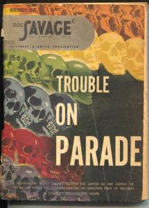Doc Savage  11/1945- Trouble On Parade-skull cover-hero pulp-VG-