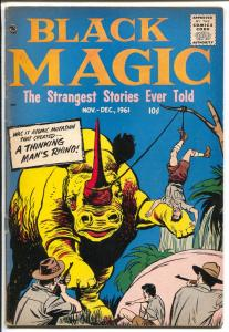 Black Magic Vol. 8 # 5-horror-mystery-rhino attack cover-Bob Powell-FN+