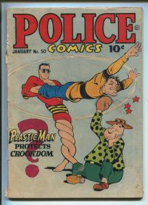 POLICE #50 1946-QUALITY-MANHUNTER-PLASTIC MAN-JACK COLE-SPIRIT-CANDY-g/vg