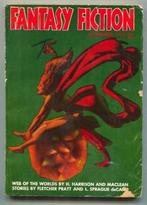Fantasy Fiction November 1953- Hannes Bok- Web of the Worlds VG-