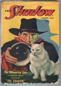 SHADOW 1949 SUMMER-RARE HERO PULP-CAT/CRYSTAL BALL CVR-LAST ISSUE!-VG minus VG-