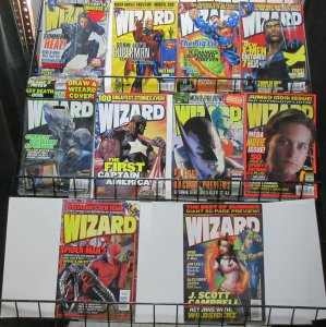 Wizard Magazine Lot of 10Diff from 2000 to 2004 X-Men Spider-Man Cap Supes ++