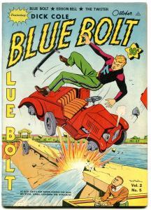 BLUE BOLT V.2 #5 1942-DICK COLE-- SUB-ZERO ---TWISTER VF-