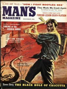 Man's 12/1956-Bad Mags-Betty Blue cheesecake-Andrea Doria-Blackhole of Calcutta-