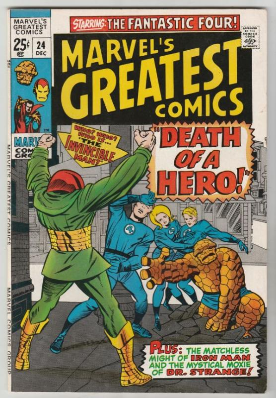 Marvel's Greatest Comics #24 (Dec-69) NM- High-Grade Fantastic Four, Captain ...