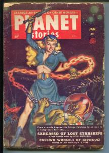 Planet Stories 1/1952-spicy Good Girl Art-pulp fiction-Poul Anderson-Jakes-G