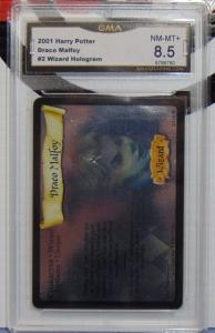2001 Harry Potter Draco Malfoy #2 Wizard Hologram Card - Graded NM-MT+ 8.5
