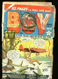 BOY COMICS #51 1950-COOL-PARACHUTE/GATOR COVER FR