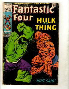 Fantastic Four # 112 VG- Marvel Comic Book Silver Age Thing Human Torch Doom GK1